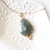 14K BLUE/GREEN SAPPHIRE NECKLACE