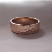 hand hammered recycled gold ring in 14k rose gold