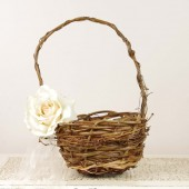 Ivory Rose Flower Gir Basket