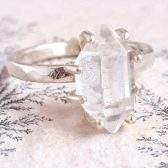 Solid Gold Large Herkimer Diamond Engagement Ring by Gaia's Candy
