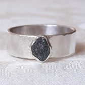 Rough Black Diamond and Sterling Silver Ring by Gaia's Candy