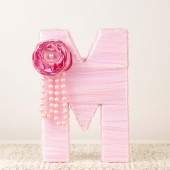 Pink Tulle Wrapper Letter M Cake Topper
