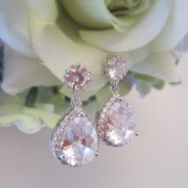 Pear Shape Dangle Bridal Cubic Zirconia Earrings