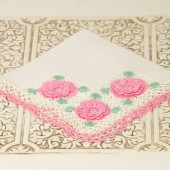 Vintage Hankerchief with Pink Crochet Details