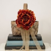 Rustic Fall Flower Girl Basket with Burnt Orange Flower