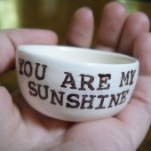 You are my sunshine ceramic wedding ring pillow white clay and handprinted, customizable for wedding ring ceremony or engagement gift