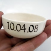 Custom Date wedding ring dish, floating candle holder