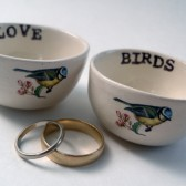 LOVE BIRDS floating wedding ring holders or candle holders