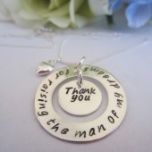 Mother of the Groom Necklace Hand Stamped Sterling Silver