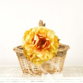 Rustic Fall Flower Girl Basket with Dark Yellow Flower