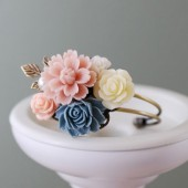 Flower Garden Cuff Bracelet. Brass Leaf, Dusty Pink, Dusky Blue, Ivory Flowers Bouquet Collage Bracelet. Bridal Bracelet, Bridesmaids Gif