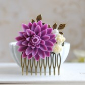 Large Lilac Lavender Purple Chrysanthemum Flower Hair Comb. Woodland Hair Accessory. Wedding Hairpiece, Bridal headpiece, Lilac Wedding