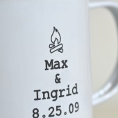 Two Names and Date... Personalized Soy Wax Candle & Enamel Mug