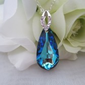 Blue Pear Shape Swarovski Bridal Pendant with Sterling Silver Bail and Sterling Silver Chain