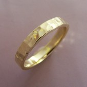 18k yellow gold hand hammered wedding band