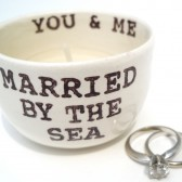 Married By The Sea ring pillow, candle holder, wedding table decoration, bridesmaid gifts