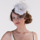 White bridal fascinator, wedding hair fascinator, large flower for hair, white hair flower