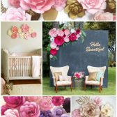 Paper flower backdrop and event decor