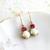 Creamy Pearl and Rose Pink Earrings