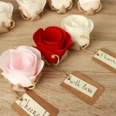 Flower place card holders with customizable tags