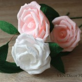 Paper roses with greenery