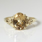 Oval engagement ring, Unique engagement ring, Floral Engagement Ring, Vintage style Ring, 14k gold Champagne quartz engagement ring.