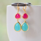 Turquoise and Fuschia Bridesmaid Earrings