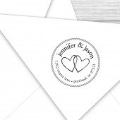 Custom wedding hearts return address stamp