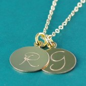 Large Two Initial Gold Filled Necklace