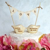 Wedding cake topper and L O V E banner...package deal ... PERSONALIZED love birds and fabric banner included