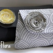 gray and yellow clutch