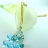 Dreamy Sky Blue Topaz 22 k Gold Necklace