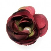 Magnetic Red Crinkled Silk Flower Shoe Clips