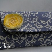 gray damask with fabric flower
