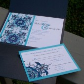 Elizabeth- floral pocket fold invitation