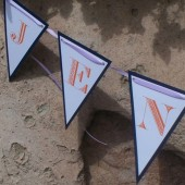 Layered paper custom bunting flags