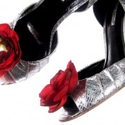 Magnetic Smooth Silk Red Flower Shoe Clips