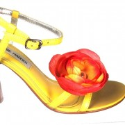 Magnetic Crinkled Silk Sunset Orange Flower Shoe Clips