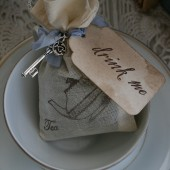 """drink me\"" jasmine tea bag favors"