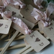 distressed ribbon cupcake topper