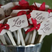 """love\"" skewers or cupcake toppers"