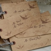 bird & swirl escort card tags