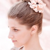Coco- gold satin flower hair clip with black pearl center