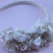 Jewel- crystal bridal thin headband with twin flower