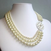 Captivate Swarovski Crystal, Glass Pearl and Sterling Silver Triple Strand Statement Necklace