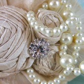 The LaRue Pearl and Ivory Dupioni Silk Bridal Hair Piece