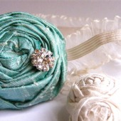 Chic Silk Single Rosette Bridal Garter Set