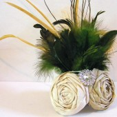 Ivory/Green Duo Green Feather Fascinator
