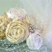 Couture Dupioni Silk Rosette Cluster Headband with Tulle and Russian Veiling
