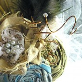 Silk and Vintage Lace Flower/Feather Fascinator with Blue